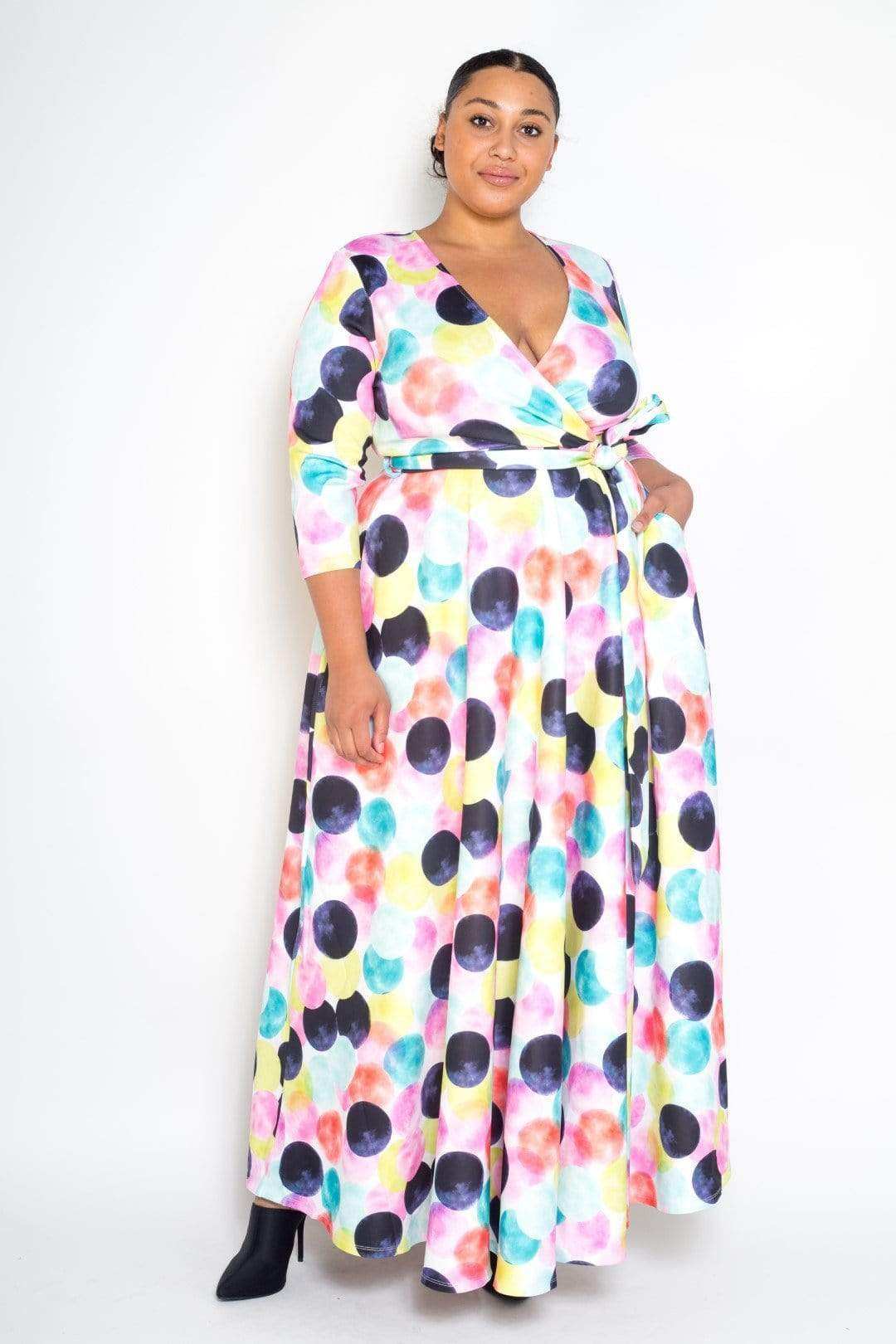 plus size spring polka dotted dress