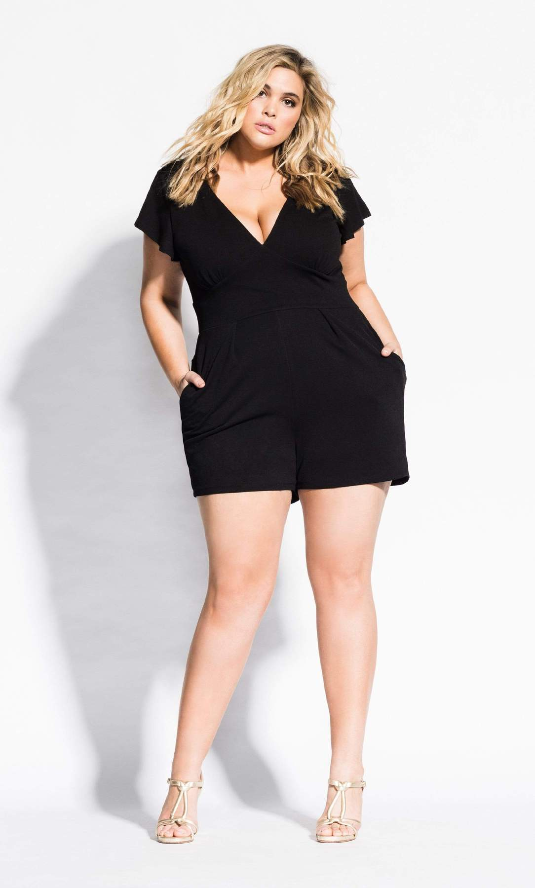 woman wearing a black romper