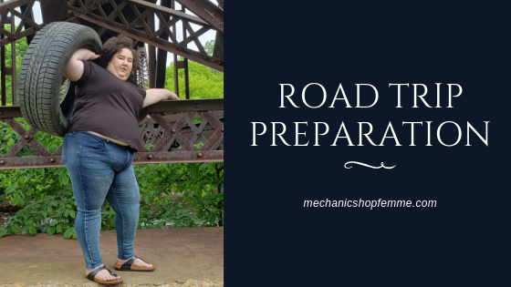 Blog banner with photo of Chaya Milchtein holding a truck tire in the air with one hand and standing on a concrete ledge over a railroad track.
