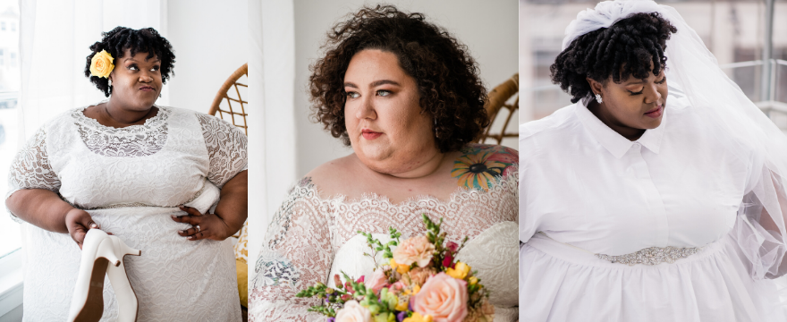 three photos of plus size women in bridal gowns