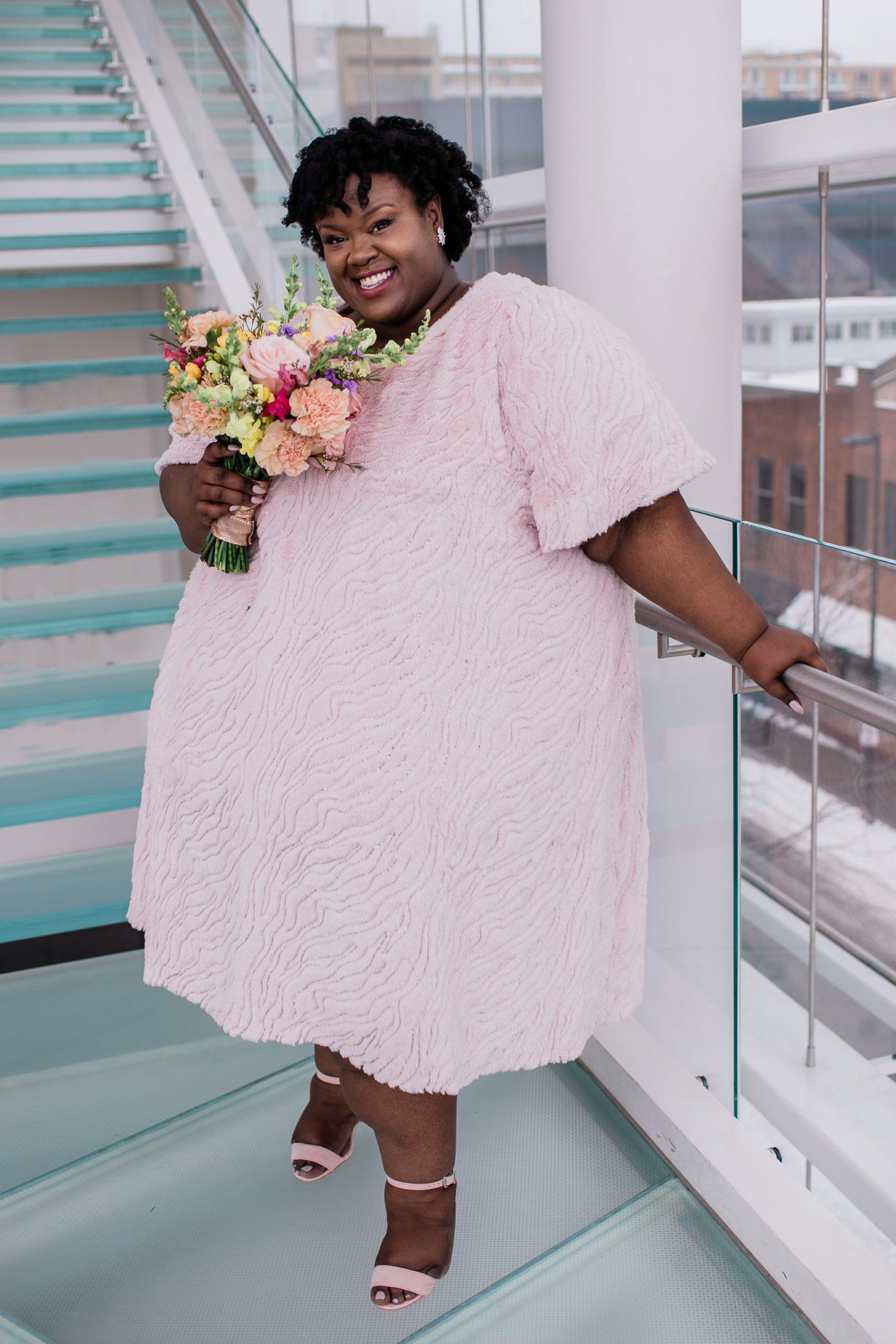 Pink fur dress