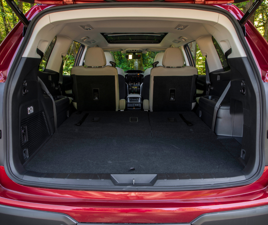 the truck of the subaru ascent suv with all seats folded down