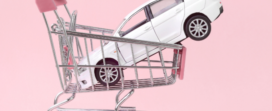 car in large shopping cart on pink background