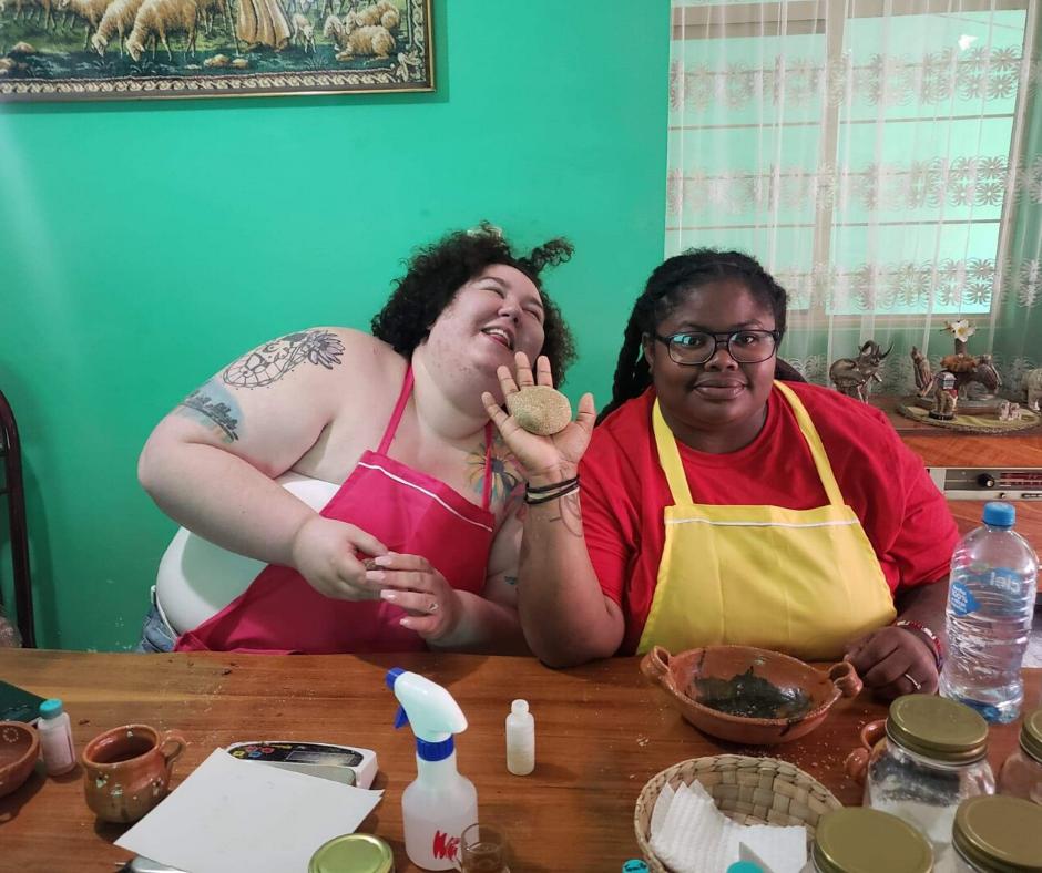 Chaya and Morgan making Soap