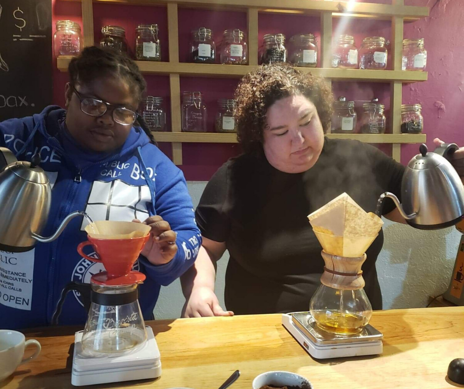 Chaya and Morgan making pour over coffee in Mexico City