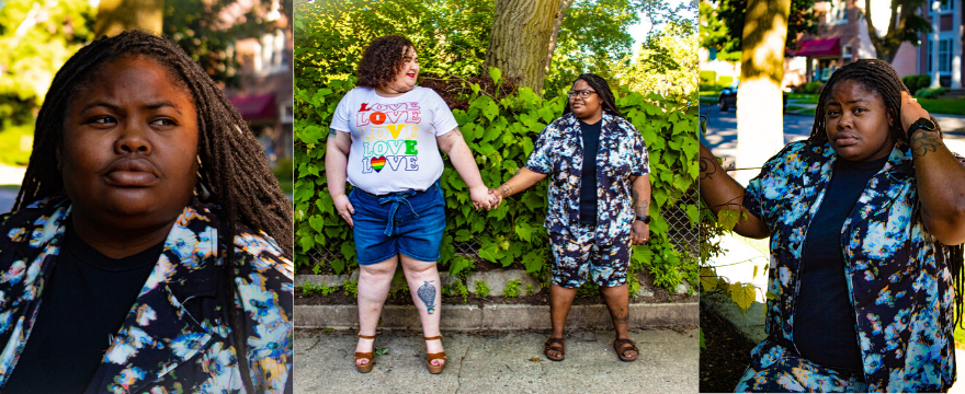 Chaya and Morgan wearing plus size shorts
