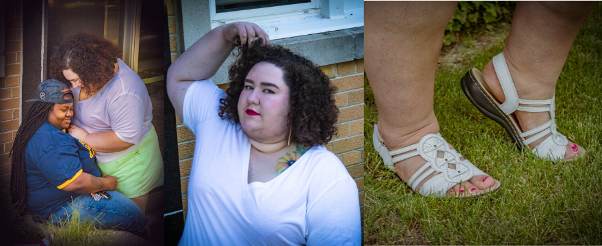 Chaya and morgan wearing Asos t shirt with plus size shorts, and wide width sandals