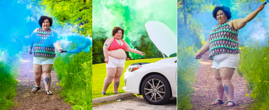 Chaya using smoke bombs wearing plus size cut off shorts