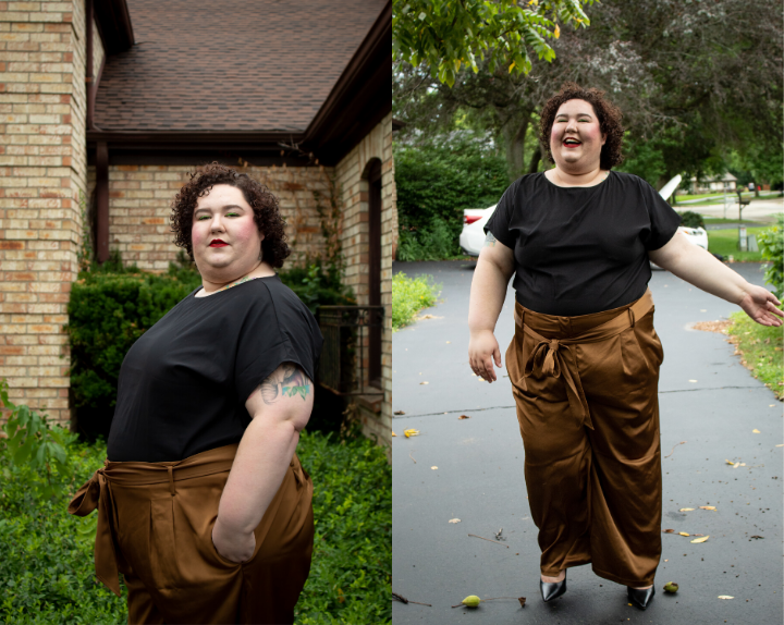 Chaya wearing Universal Standard wide leg pants and blouse