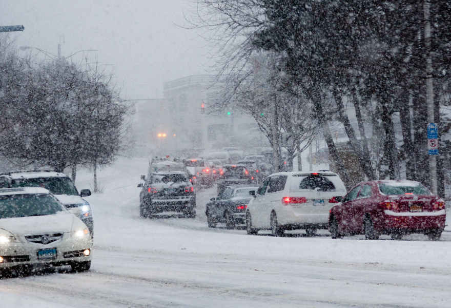Cars in a snow storm